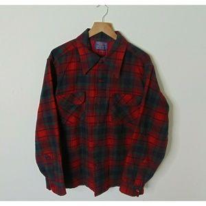 Vintage Pendleton L Flannel Shirt Red Green Loop